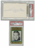 Football Collectibles:Balls, Johnny Unitas Signed Trading Card and Index Card PSA-Graded Lot of 2. Each of these pieces seen here has been signed by Ha...