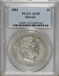 Coins of Hawaii: , 1883 $1 Hawaii Dollar AU55 PCGS. PCGS Population (36/110). NGCCensus: (35/88). Mintage: 500,000. (#10995)...