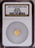 California Fractional Gold: , 1872/1 25C Indian Round 25 Cents, BG-868, High R.4, MS66 NGC.(#10729)...