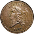 Half Cents: , 1793 1/2 C AU58 NGC. C-2, B-2, R.3. The cap is far from the Y ofLIBERTY, and the 1 numerator is centered over the 200 deno...