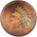 Proof Indian Cents: , 1908 1C PR67 Red and Brown PCGS. The fields are deep, flashy pools of reflectivity and serve to brighten the almost complet...