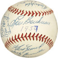 Autographs:Baseballs, 1957 Kansas City Athletics Team Signed Baseball....