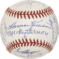 Autographs:Baseballs, 1950s Washington Senators Reunion Team Signed Ball. ...