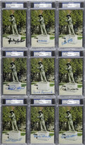 "Autographs:Index Cards, Baseball Hall of Famers ""Sand Lot Kid"" Signed Postcards, PSA GradedLot of 9.... (Total: 9 cards)"