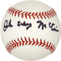 Autographs:Baseballs, John Sidney McCain Single Signed Baseball....