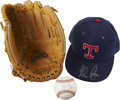 Autographs:Others, Nolan Ryan Signed Cap, Baseball and Fielder's Glove Lot of 3....(Total: 3 items)