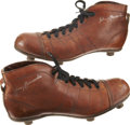Baseball Cards:Singles (1930-1939), Johnny Hancocks Signed Rugby Cleats.... (Total: 2 items)