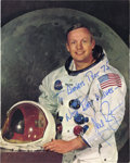 Autographs:Celebrities, Neil Armstrong Color Spacesuit Photo Signed....