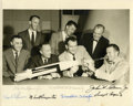 Autographs:Celebrities, Mercury Seven Astronauts Photo Signed by All with early forms of their signatures....