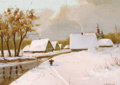 Fine Art - Painting, Russian:Modern (1900-1949), YAKOV IVANOVIC BROVAR (Russian, 1864-1941). Winter Village.Oil on board. 13-3/4 x 19-1/4 inches (34.9 x 48.9 cm). Signe...