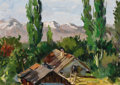 Fine Art - Painting, Russian:Modern (1900-1949), NIKOLAI PETROVICH KRYMOV (Russian, 1884-1958). Cottage inMountain Landscape. Oil on canvas. 12 x 17 inches (30.5 x43.2...