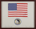 Explorers:Space Exploration, Apollo 12 Command Module Flown Framed American Flag Signed by and from the Collection of Mission Lunar Module Pilot Alan Bean...