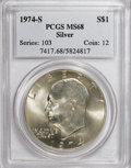 Eisenhower Dollars: , 1974-S $1 Silver MS68 PCGS. PCGS Population (840/3). NGC Census: (119/1). Mintage: 1,900,156. Numismedia Wsl. Price for NGC...