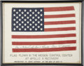Explorers:Space Exploration, Apollo 10 Mission Control Center Flown American Flag Signed by andfrom the Personal Collection of Mission Lunar Module Pilot ...