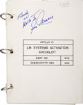 Explorers:Space Exploration, Apollo 10 Lunar Module Flown LM Systems Activation Checklist Signedby and from the Personal Collection of Mission Lunar Modul...