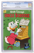 Golden Age (1938-1955):Cartoon Character, Uncle Scrooge #5 (Dell, 1954) CGC FN+ 6.5 Off-white to whitepages....