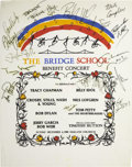Music Memorabilia:Autographs and Signed Items, Bob Dylan and Others Signed Bridge School Benefit Poster (1988)....