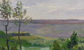 Fine Art - Painting, Russian, NIKOLAI NIKOLAYEVICH VOLKOV (Russian, 1897-1974). Landscape.Oil on board. 8-1/2 x 14 inches (21.6 x 35.6 cm). ...