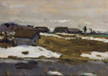 Fine Art - Painting, Russian, VALENTIN SEROV (Russian, 1865-1911). Village by the Water inWinter. Oil on artist board. 7-3/4 x 10-1/2 inches (19.7 x ...