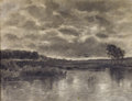 Fine Art - Work on Paper:Drawing, KONSTANTIN YAKOVLEVICH KRYZHITSKY (Russian, 1858-1911). Lake, 1893. Charcoal on paper. 12-1/4 x 16 inches (31.1 x 40.6 c...