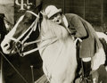 Photography :20th Century , STAGG. Circus 1920s, Los Angeles. White Horses Lined Up and Circus 1920s, Los Angeles. Woman on Palomino (two photog... (Total: 2 Items)