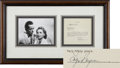 "Movie/TV Memorabilia:Autographs and Signed Items, Ingrid Bergman Signed Document with Photo, Framed to 27.5"" x16""...."