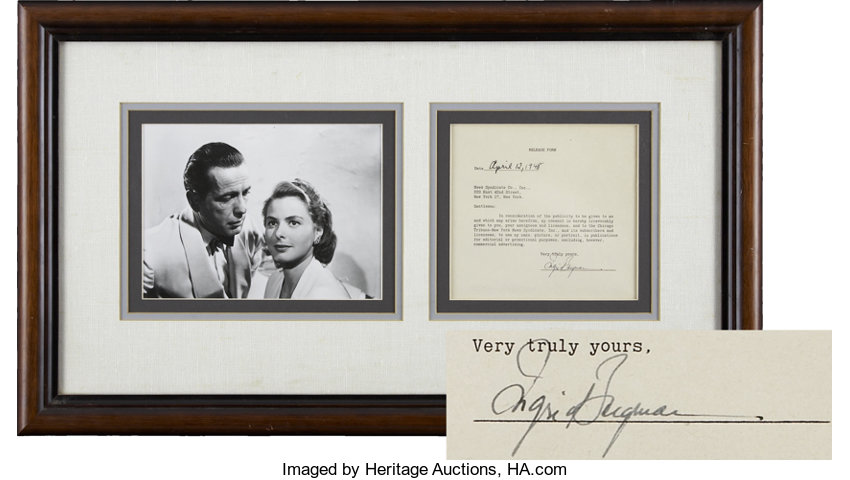 Ingrid Bergman Signed Document with Photo, Framed to 27.5\