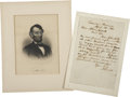 Autographs:U.S. Presidents, Abraham Lincoln Autograph Letter Signed as President Two DaysBefore Civil War Begins.... (Total: 2 Items)