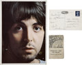 Music Memorabilia:Autographs and Signed Items, Beatles Related - Paul McCartney Signed Postcard.... (Total: 3Items)