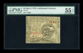 Colonial Notes:Continental Congress Issues, Continental Currency May 9, 1776 $4 PMG About Uncirculated 55EPQ....