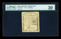 Colonial Notes:Massachusetts, Massachusetts 1779 5s Rising Sun PMG Very Fine 30....