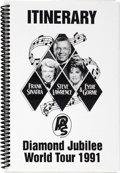 Movie/TV Memorabilia:Memorabilia, Jilly Rizzo's Personal Copy of Frank Sinatra, Steve Lawrence andEydie Gorme Diamond Jubilee World Tour 1991...