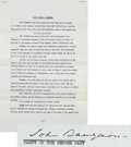 Movie/TV Memorabilia:Autographs and Signed Items, John Barrymore Signed 1936 Investment Document....