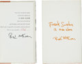 Movie/TV Memorabilia:Memorabilia, Jilly Rizzo's Personal Copy of Frank Sinatra A Man Alone,Signed by Author....