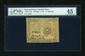 Colonial Notes:Pennsylvania, Pennsylvania October 1, 1773 5s PMG Choice Extremely Fine 45....