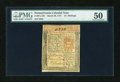 Colonial Notes:Pennsylvania, Pennsylvania March 20, 1771 15s PMG About Unc 50....