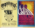 Music Memorabilia:Posters, Cream Winterland/Fillmore Concert Posters, Uncut Sheet of 2 (Bill Graham, 1968)....