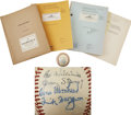 Movie/TV Memorabilia:Autographs and Signed Items, The Stratton Story Cast-Signed Baseball with Scripts (1948).... (Total: 4 Items)
