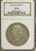 Coins of Hawaii, 1883 $1 Hawaii Dollar XF40 NGC. NGC Census: (35/202). PCGSPopulation (92/329). Mintage: 500,000. (#10995)...