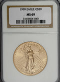 Modern Bullion Coins, 1999 G$50 One-Ounce Gold Eagle MS69 NGC. NGC Census: (902/14). PCGSPopulation (648/3). Numismedia Wsl. Price for NGC/PCGS...