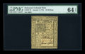 Colonial Notes:Delaware, Delaware January 1, 1776 10s PMG Choice Uncirculated 64 EPQ....