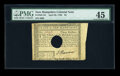 Colonial Notes:New Hampshire, New Hampshire April 29, 1780 $3 PMG Choice Extremely Fine 45.POC....
