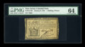 Colonial Notes:New Jersey, New Jersey January 9, 1781 1s/6d PMG Choice Uncirculated 64....