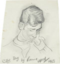 Music Memorabilia:Original Art, Ronnie Wood Tony Sketch Original Art (1963)....