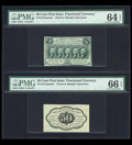 Fractional Currency:First Issue, Fr. 1313SP 50c First Issue Narrow Margin Pair PMG Choice Uncirculated 64 EPQ and PMG Gem Uncirculated 66 EPQ. ... (Total: 2 notes)