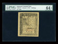 Colonial Notes:Delaware, Delaware January 1, 1776 1s PMG Choice Uncirculated 64 EPQ....