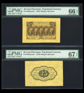 Fractional Currency:First Issue, Fr. 1282SP 25c First Issue Wide Margin Pair PMG Gem Uncirculated 66 EPQ and PMG Gem Uncirculated 67 EPQ....