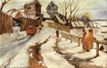 Fine Art - Painting, Russian, IVAN SILYCH (SILOVICH) SOROKOPUDOV-GORYUSHKIN (Russian, 1873-1954). Winter Scene, Russian Village. Oil on board. 12 x 17...