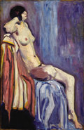 Fine Art - Painting, Russian:Modern (1900-1949), NATALIA GONCHAROVA (Russian, 1881-1962). Nude, circa 1906.Oil on canvas. 36 x 23-1/4 inches (91.4 x 59.1 cm). ...