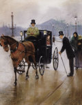 Fine Art - Painting, Russian, JEAN BÉRAUD (Russian, 1849-1935). Couple in Carriage. Pastel on paper. 17-1/2 x 14 inches (44.5 x 35.6 cm). Signed lower...